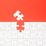 Missing jigsaw puzzle pieces. Business concept. Compliting final